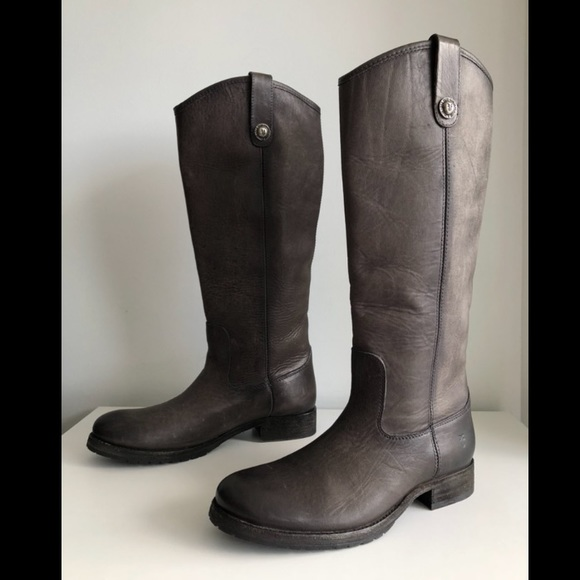 $398 Frye Leather Tall Riding Boot Smoke Melissa Pull On Size 8